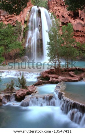 Nevada falls at dusk. Havasupai Indian reserve. Arizona. America - stock photo