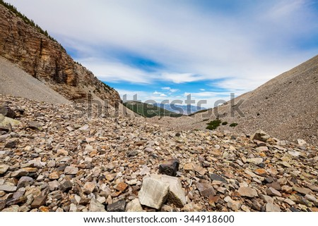 Nevada-Great Basin National Park-This is the Bristlecone Pine Trail, long, steep, and quite scenic, with great view of Wheeler Peak, a beautiful Bristlecone pine forest, and other high peaks. - stock photo