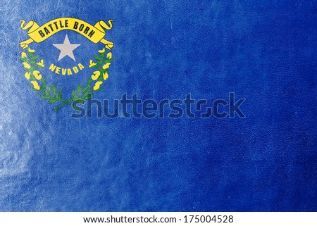 Nevada State Flag painted on leather texture - stock photo