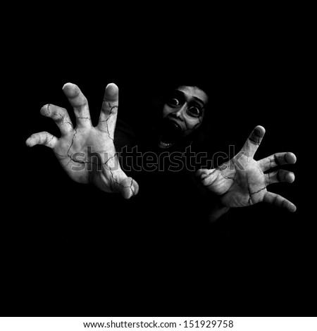 Never Leave Me Alone,Black And White Horror Background For Halloween Concept - stock photo