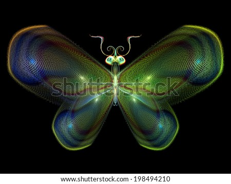 Never Were Butterflies series. Arrangement of isolated butterfly patterns on the subject of science, imagination, creativity and design - stock photo