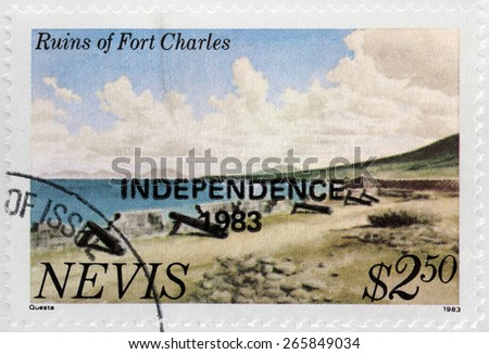 NEVIS - CIRCA 1983: A stamp printed by NEVIS shows view of the Ruins of Fort Charles, circa 1983 - stock photo