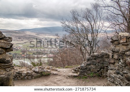 Nevitsky Castle ruins Kamyanitsa village , 12 km north of Uzhgorod, Zakarpattia Oblast, Ukraine Built in 13th century - stock photo