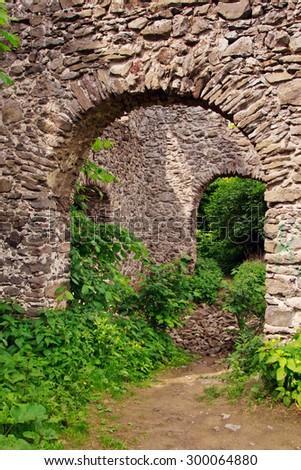 Nevitsky ruins of the castle, Transcarpathia, Ukraine - stock photo