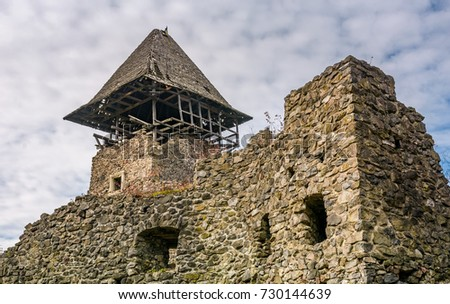 nevytsky castle ukraine october 27 2016 tower with wooden roof and stone