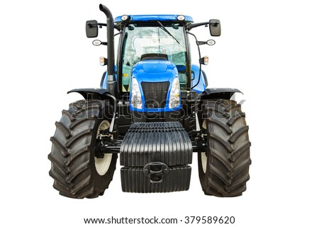 New agricultural blue tractor isolated on white background with clipping path - stock photo