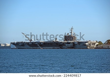 New Aircraft Carrier Building in San Diego Bay Area, California, United States.