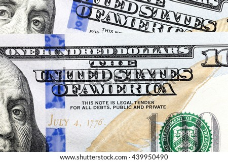 new American dollars, piled in a heap. close-up - stock photo