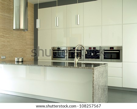 New and modern kitchen in bright colors