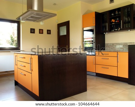 New and modern kitchen with spacious interior - stock photo