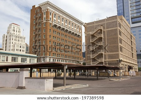 New and Old, downtown Phoenix, Arizona architecture, past and present - stock photo