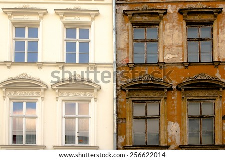 new and old facade - stock photo