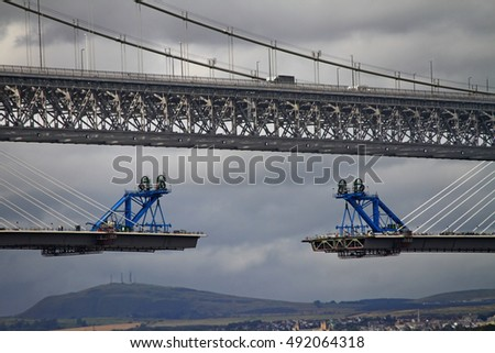 New and Old Queensferry Crossing Bridges spanning the Firth of Forth under construction