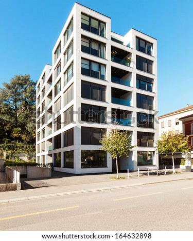 New apartment building view from the street - stock photo