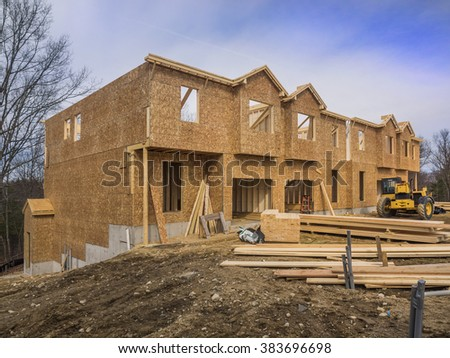 New apartment condo construction in the suburbs - stock photo