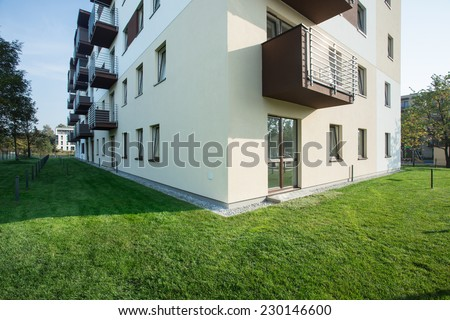 New apartment house situated at beautiful area - stock photo