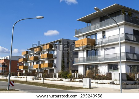 New apartment with balconies - stock photo
