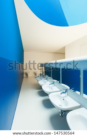 new architecture, blue public bathroom - stock photo