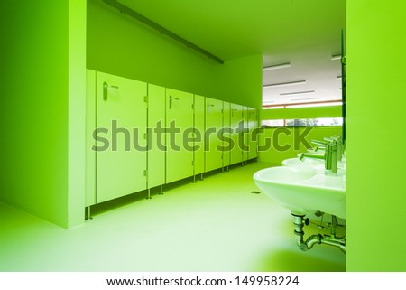 new architecture, green public bathroom - stock photo