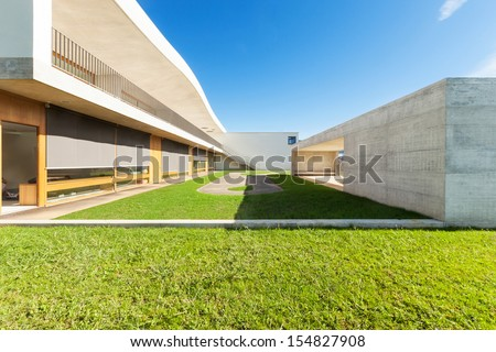 new architecture, public school, seen from the outside - stock photo