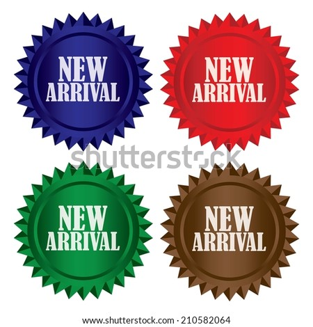 New arrival colorful shinny labels, sticker set. - stock photo