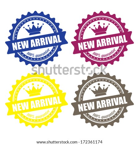 New arrival guaranteed label, sign, stamp and sticker. jpg format. - stock photo