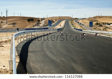 New asphalt highway road. Black asphalt - stock photo