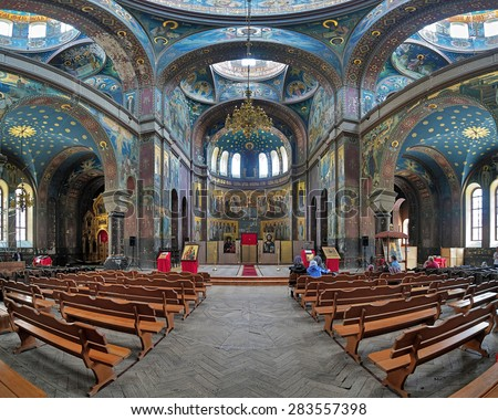 NEW ATHOS, ABKHAZIA - MAY 5, 2015: Interior of Cathedral of St. Panteleimon the Great Martyr in the New Athos Monastery. The cathedral, built in 1888-1900, is the largest cult structure of Abkhazia. - stock photo