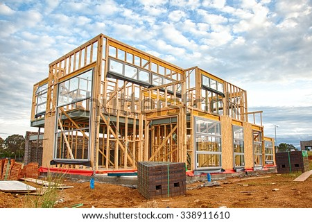 New Australian house under construction - stock photo