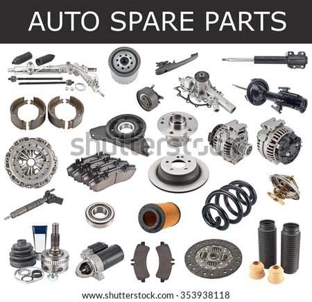 New auto spare parts isolated on white background - stock photo