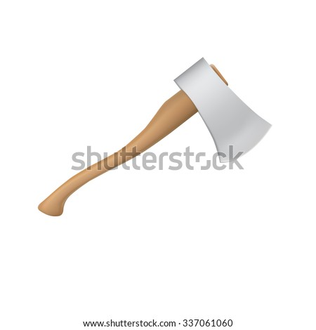 New ax with a shining blade and a wooden handle - stock photo