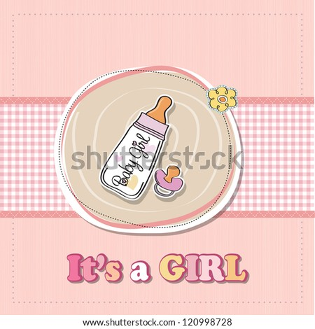 new baby girl announcement card with milk bottle and pacifier - stock photo