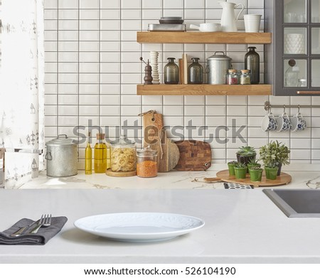Background Modern Tiles Wall White Table Stock Photo - New kitchen accessories