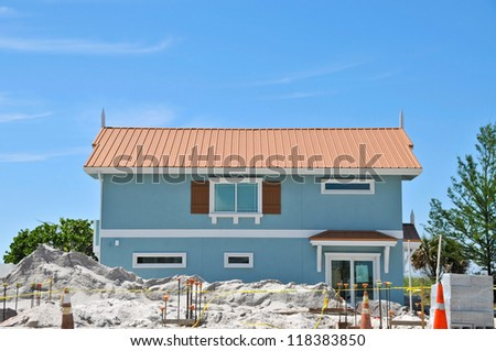 New Beach House under Construction - stock photo