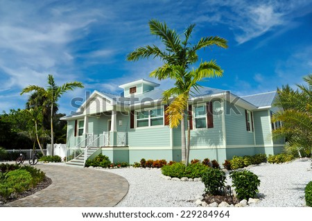 New Beach House with beautiful Landscaping - stock photo
