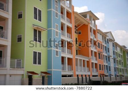new beachfront condominium complex - stock photo