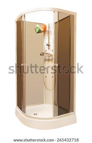 New beautiful shower cubicle  - stock photo