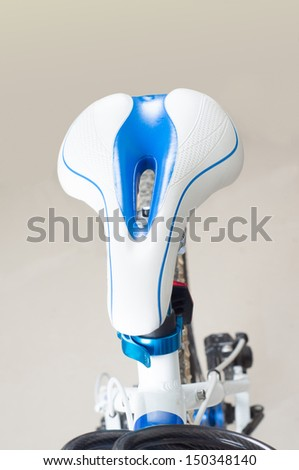 new bicycle close up, isolated on white background - stock photo