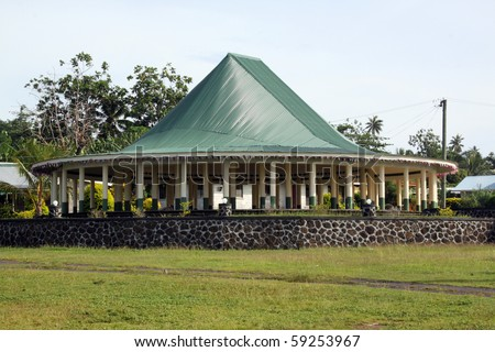 New big hut on Savaii island, Samoa