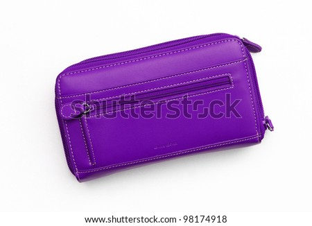 New Big Purple Leather Wallet / Purse isolated on white background - stock photo