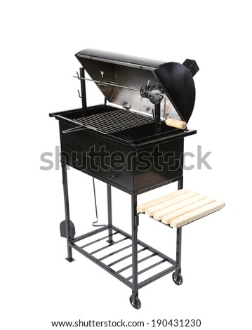 New black barbecue. Isolated on a white background. - stock photo