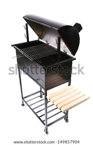 New black barbecue with a cover over - stock photo