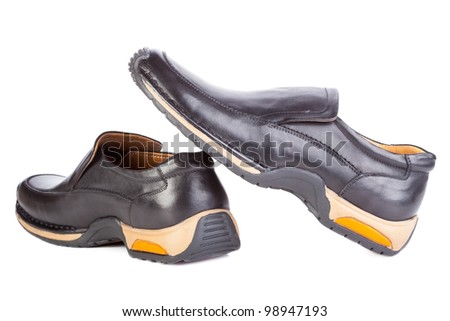 new black boots men's fashion on a white background