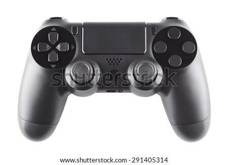 new black gamepad, isolated on white background - stock photo