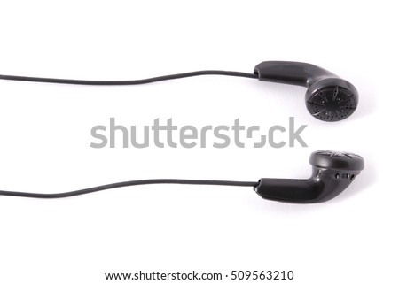 New black headphones isolated on white background