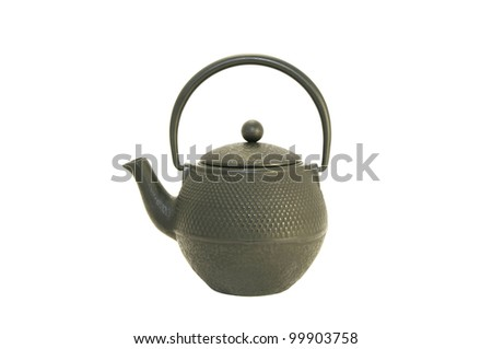 new black metal kettle on a white background - stock photo