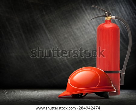 New blank red fire extinguisher in closeup