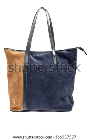 New blue and brown womens bag isolated on white background.