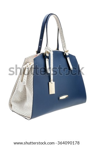 New blue and white womens bag isolated on white background. - stock photo