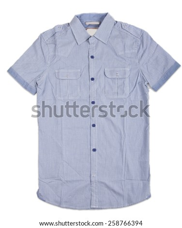 New blue mens shirt. T-shirt Isolated on white